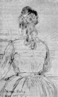 Софья Ментер за роялем.Рисунок.1887