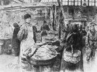 На Сенном рынке в Петербурге. Рисунок. 1891