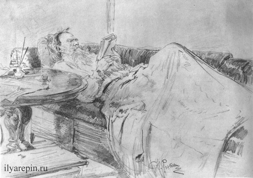 Л.Н. Толстой на диване за чтением