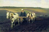 Пахарь. Лев Николаевич Толстой на пашне. 1887