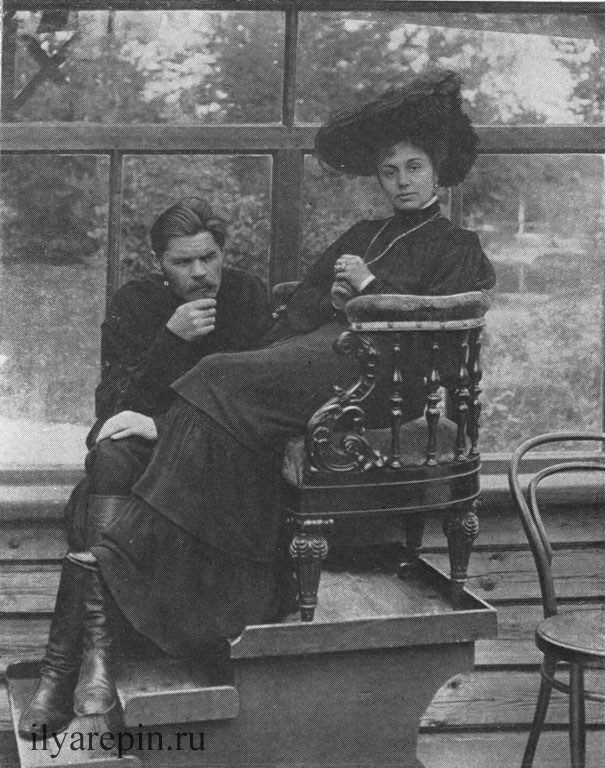 А. М. Горъкий и М. Ф. Андреева на зимней веранде. Фотография 1905 г.