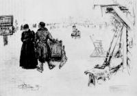 Перевоз по льду через Неву. Рисунок. 1891